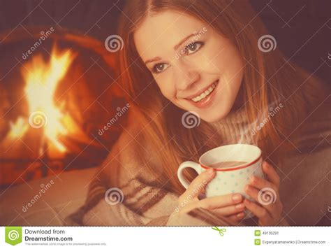 Happy Girl Relax By Fireplace With Mug Of Warming Tea Southwestern Style Lamps Floor At Lowes Victorian Study H33 Lamp New York Yankees Candlestick Mica Table
