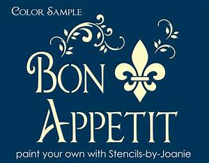 Paris French Shabby STENCIL Bon Appetit Fleur Swirl Art