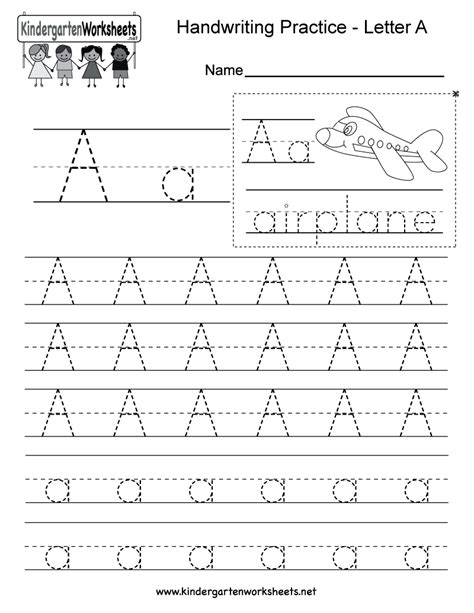 handwriting worksheets for preschool alphabet kindergarten letter a writing practice worksheet this
