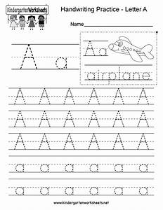 kindergarten letter a writing practice worksheet this With handwriting tracing letters
