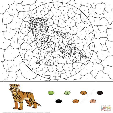 tiger coloring pages color  number printable  older kids