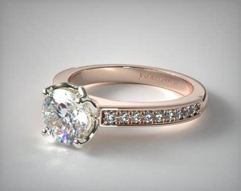 Bead Set Cathedral Diamond Engagement Ring  14k Rose Gold. 3mm Engagement Rings. Brown Gold Wedding Rings. Rainbow Quartz Wedding Rings. Cadenza Engagement Rings. Teigen Wedding Rings. 12 Carat Rings. Bezet Rings. 10 Year Engagement Rings