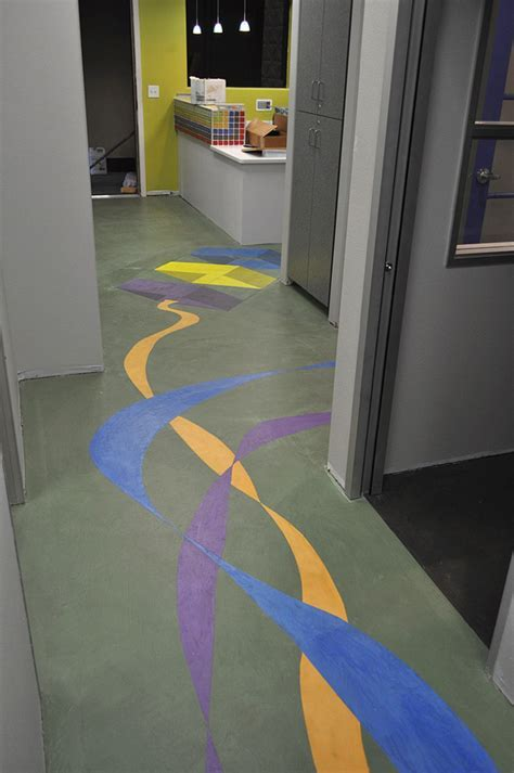 Wayfinding Colors on a Dentist's Concrete Floor   Concrete