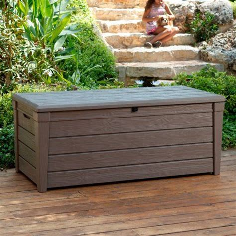 keter deck box 120 gallon keter brightwood resin 120 gallon outdoor storage deck box