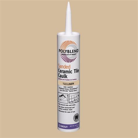 custom building products polyblend 122 linen 10 5 oz sanded ceramic tile caulk pc12210s the