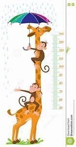 Rain Gauge Chart Giraffe And Monkeys Meter Wall Or Height Chart Stock