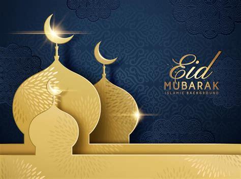 eid mubarak dark background  golden building vector