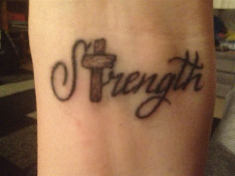 Strength tattoo with old school wooden cross :) | Tattoos