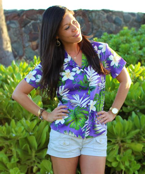 womens hawaiian shirts blouses ms monstera purple fitted 39 s hawaiian shirt