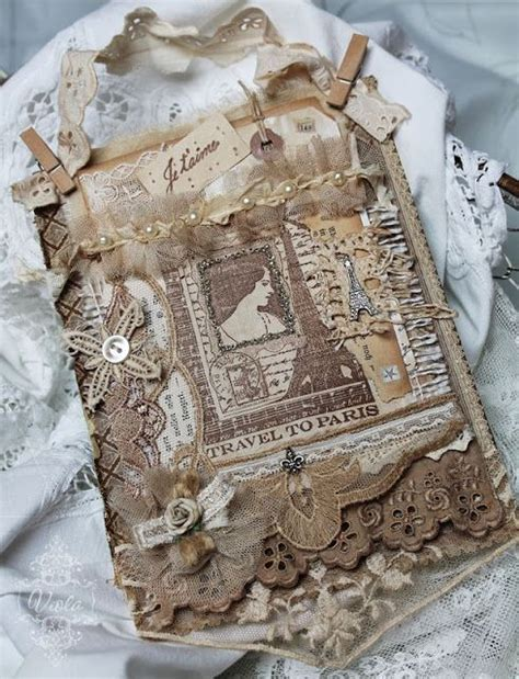 shabby fabrics cover shabby chic inspired fabric paper collage on book cover fabric art pinterest book covers