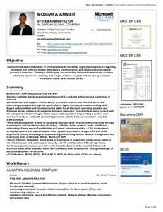 microsoft certified resume format mostafa ammer cv resume