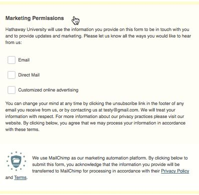 collect consent with gdpr forms mailchimp email