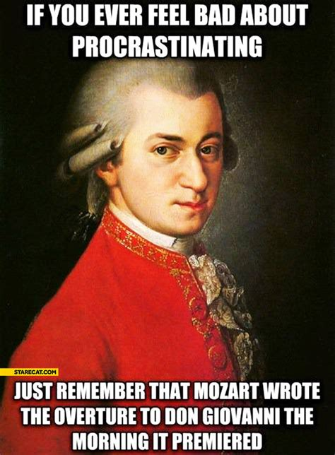 Procrastination Memes - if you feel bad about procrastinating remember that mozart wrote the overture to don giovanni