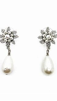 Pre-Loved Chanel Antiqued Silver & Pearl Bomb Earrings 2015