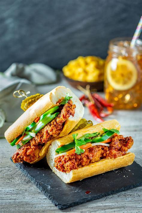 chicken korean fried bbq sandwich spicy thighs baguette