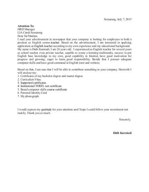 contoh surat lamaran pekerjaan guru guru bimbel tentor