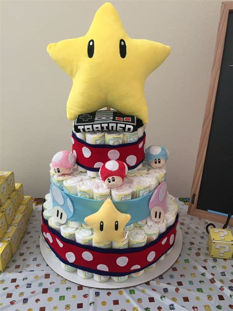 Super Mario Themed Diaper Cake Baby Shower In 2019