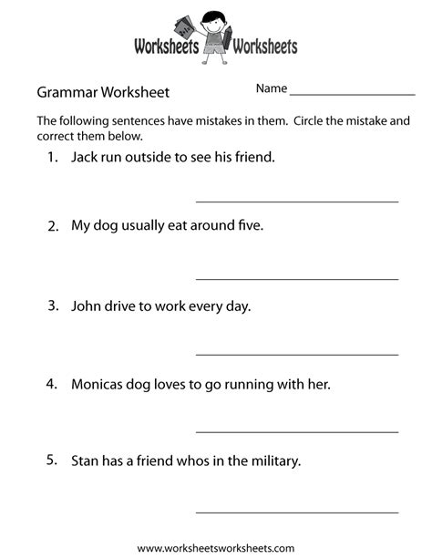 grammar practice worksheet  printable educational