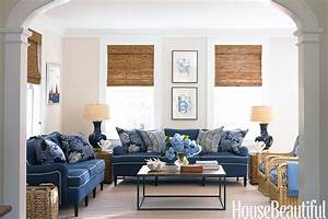 Blue and White Family Room - House Beautiful Pinterest