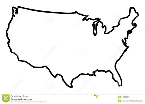 Usa Broad Outline Map Stock Vector. Illustration Of