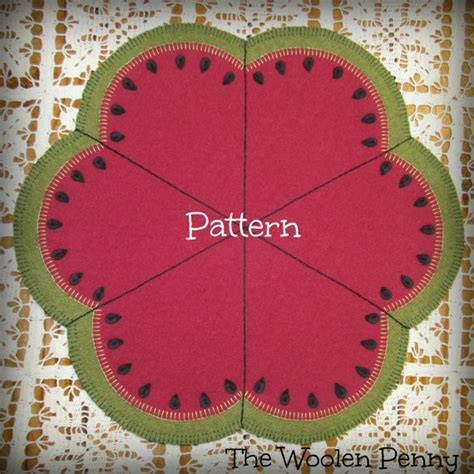 slice of summer rug candle mat wool applique pattern