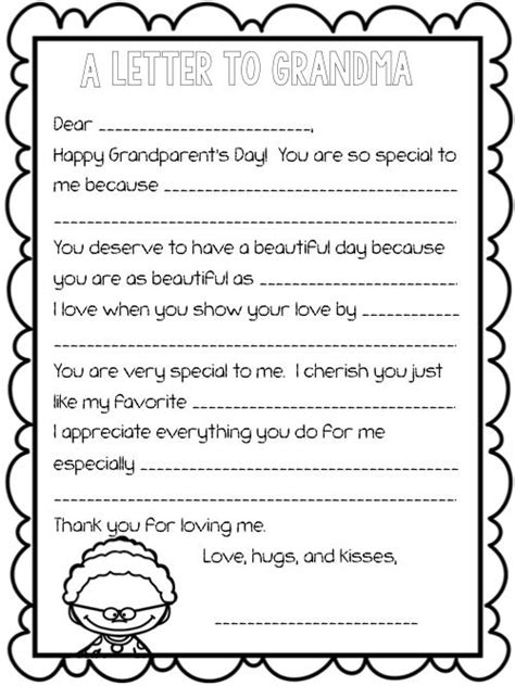 Grandparent's Day Letter: Fill-in-the-Blank | Happy