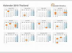 Feiertage 2019 Thailand Kalender & Übersicht