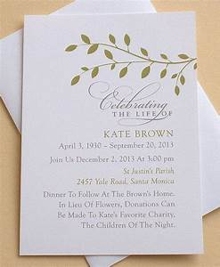 Celebration of life invitation with green leaves for Wedding invitations wording son of