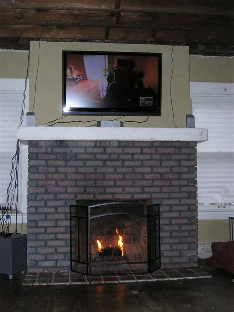 Den The Cavender Diary Black Painted Brick Fireplace In