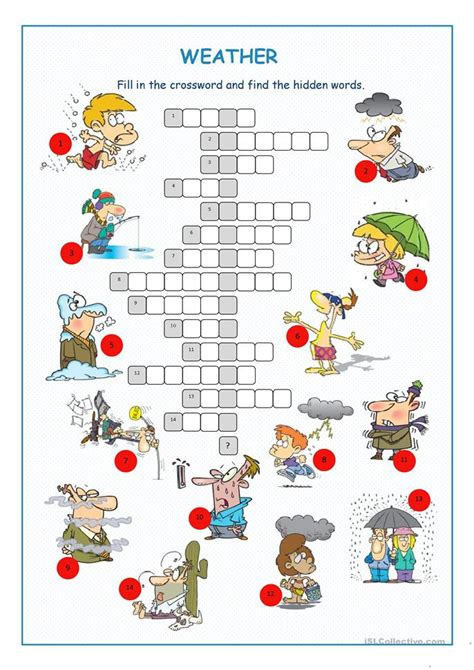 weather crossword puzzle worksheet  esl printable