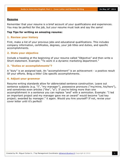 Enc Resume Meaning guide to part 1 cover letter and resume