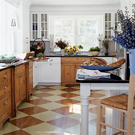 Patterned Kitchen Floors  100 Comfy Cottage Rooms