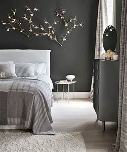 Bedroom, With, A, Dark, Feature, Wall, And, Delicate, Details