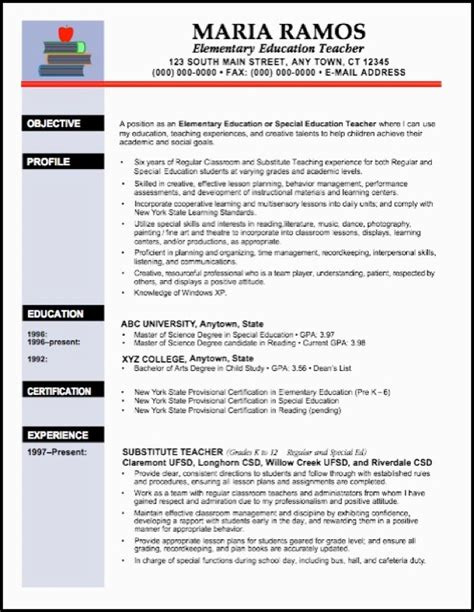 Teachers Resume Templates Free by Doc 600737 Elementary School Resume Exle