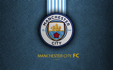 Download Wallpapers Manchester City Fc, Fc, 4k, English Football Club, Leather Texture, Premier