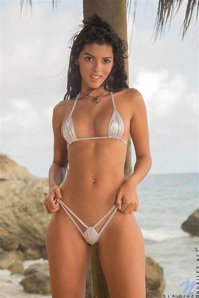 Bikini Angela Diaz Brunette Pubic Hair Thong