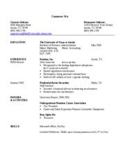 Resume Format For Bba Graduates by Resume Format Resume Format For Bba Students
