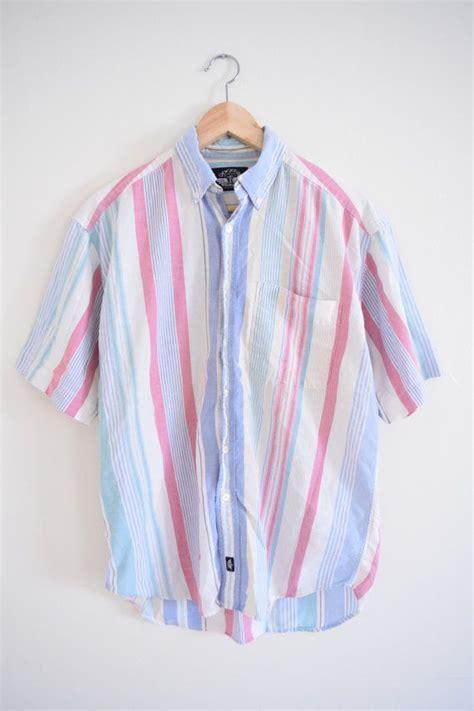 pastel striped shirt size mens medium  short