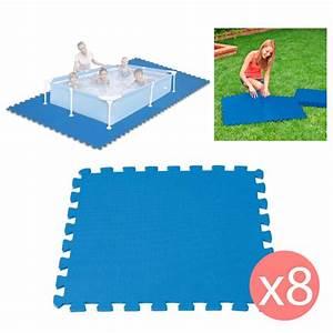 8 dalles en mousse tapis de sol piscine With tapis de sol sous piscine hors sol