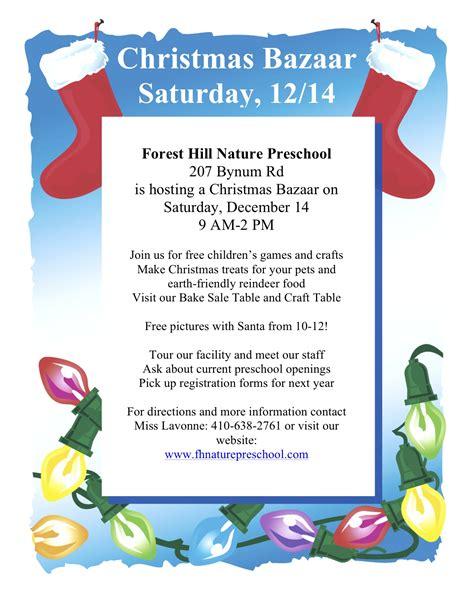 forest hill nature preschool to host bazaar dec 580 | Christmas Bazaar1