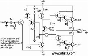 electronic circuit diagram low distortion audio amplifier With electronic circuit diagram driver bridge pre power amp 20hez with 2sc1469