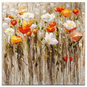 fleurs tableau coquelicots carre orange acrylique 70x70 With chambre bébé design avec tableaux fleurs acrylique