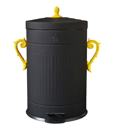 cuisine originale trash chic bin dustbin black yellow handles by seletti