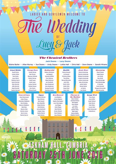 awesome festival concert wedding table plans wedfest
