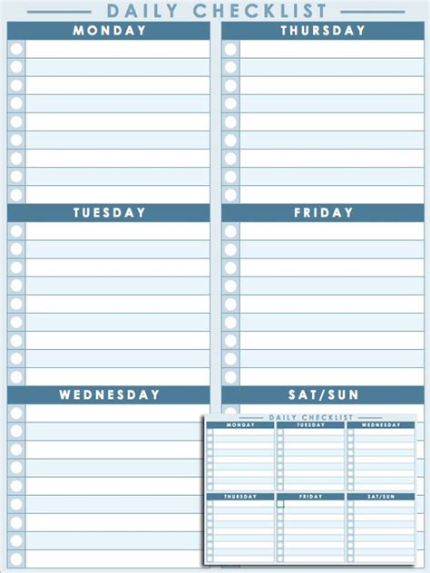 daily checklist template daily schedule template