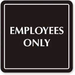 "Employees Only Signs, Employees Only Sign, Outdoor Engraved Plastic, 6""x6"""