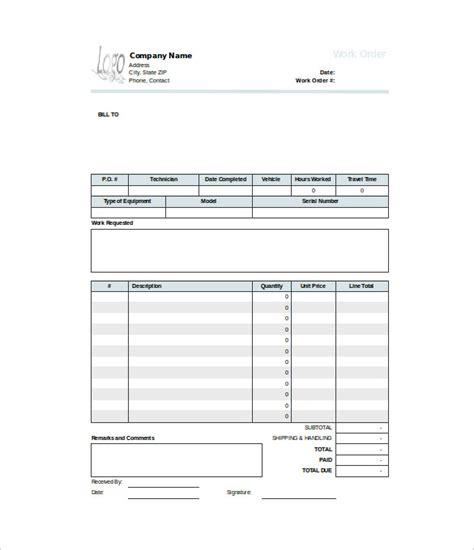 work order templates word google docs