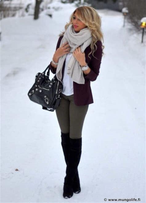 Jacket blazer winter outfits leggings black knee high boots - Wheretoget