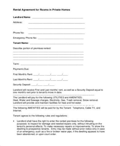 sample home rental agreement forms   ms word