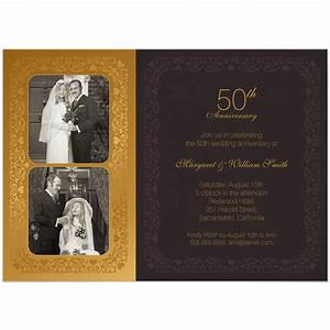 elegant two photos 50th wedding anniversary invitation With 50th wedding anniversary invitation